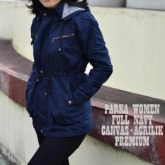 Sea7 Store Jaket Parka Wanita - Canvas - Bolak-Balik - Biru Dongker