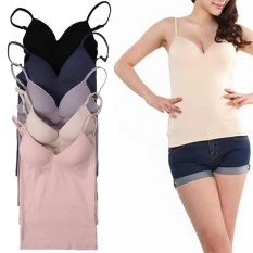 Promo Seamless Padded Camisole Adjustable Strap Self Mold Bra Tank Top Plain Intl Oem Terbaru