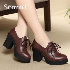 Jual Seanut Genuine Leather Women Lady High Heel Martin Ankle Zipper Boots Shoes Dark Brown Intl Import