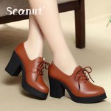 Harga Seanut Genuine Leather Women Lady High Heel Martin Ankle Zipper Boots Shoes Light Brown Intl Termahal