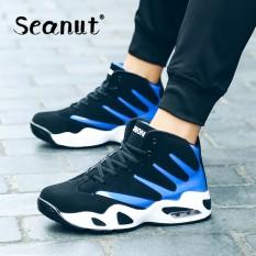 Seanut LACE UP Jogging Pelatih Bernapas Sneakers Pria LACE UP Sepatu Basket (Biru)-Intl