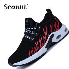 Seanut LACE UP Jogging Pelatih Bernapas Sneakers Pria LACE UP Basket Sepatu (Merah)-Intl