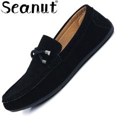 Spesifikasi Seanut Laki Laki Slip Ons Pantofel Fashion Sepatu Kulit Suede Sapi Hitam International Terbaik