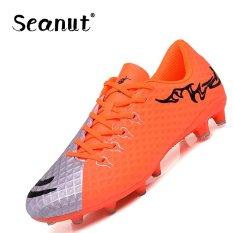 Seanut Men Waterproof Kulit Buatan Football Boots Light-memakai Football Shoes Lace-up Indoor Soccer Sepatu (Orange) -Intl