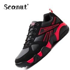 Seanut Men's Basketball Sepatu On Court Wearable Bantalan Sepatu Kets Sepatu Olahraga Pelatihan Bola Basket Ankle Boots untuk Pria (Merah) -Intl