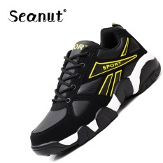 Seanut Men's Basketball Sepatu On Court Wearable Bantalan Sepatu Kets Sepatu Olahraga Pelatihan Bola Basket Ankle Boots untuk Pria (Kuning) -Intl