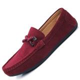 Spesifikasi Seanut Pria Kasual Sepatu Datar Sapi Suede Peas Sepatu Merah Seanut Terbaru