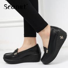 Beli Seanut Wanita Asli Sepatu Kulit Lereng Dengan Slip On Loafers Flatform Sepatu Hitam Intl Online Tiongkok