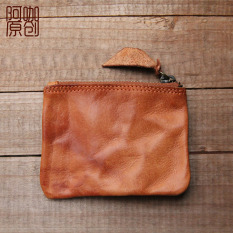 Sederhana Kopi Rajut Lipat Dompet Kecil Kulit Dompet Uang Receh (Musim Gugur Oranye Coklat)