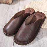 Spek Sederhana Lapisan Pertama Kulit Datar Sandal Kasual Dan Sandal Sepatu Wanita Kopi Warna Other