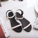 Jual Sandal Summer Sederhana Pijakan Empuk Flat Shoes Wanita Putih Grosir