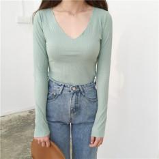 Spesifikasi Sederhana Musim Gugur Baru V Neck Legging Atasan Coklat Muda Warna Baju Wanita Baju Atasan Kemeja Wanita Paling Bagus