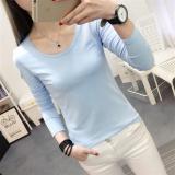 Review Sederhana Perempuan Slim Musim Semi Dan Musim Gugur Kemeja Putih Lengan Panjang T Shirt 224 Langit Biru Terbaru