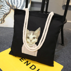 Sederhana Tunggal Putri Ransel Siswa Kasual Tas Belanja Tas Kanvas (Kucing Kecil Hitam)
