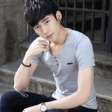 Review Masuknya Laki Laki Dan Minimalis Pria V Neck Kemeja Pemuda Musim Panas Lengan Pendek T Shirt 608 Abu Abu 608 Abu Abu Di Tiongkok