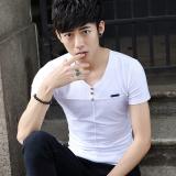 Ulasan Tentang Masuknya Laki Laki Dan Minimalis Pria V Neck Kemeja Pemuda Musim Panas Lengan Pendek T Shirt 608 Putih 608 Putih