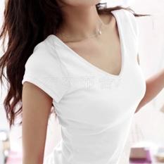 Warna Polos Sederhana Bulat Kerah V Baju Dalaman Kaos (Lengan Pendek Leher-v Putih Polos)