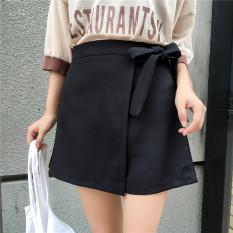 Beli Rok Mini Wanita Trendi Dengan Pita Model Sepan Warna Hitam Khaki Hitam Kredit