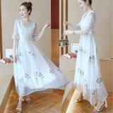 Harga Hemat Gaun Sifon A Line Bordir Wanita Ramping Putih Putih