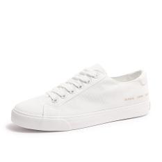 Sekarang Pria Bernapas Datar Sepatu Kets Putih Sepatu Kanvas (Putih) sepatu pria sepatu sneakers Sepatu sport sepatu casual pria