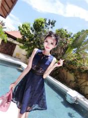 Jual Beli Seksi Anyaman Bunga Musim Panas Perempuan Elegan Gaun Biru Tua Warna Di Tiongkok