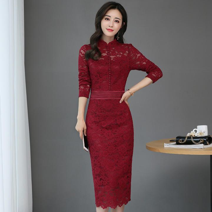 harga Dress Panjang Lengan Panjang Berenda Seksi Wanita Gaya Korea (Anggur merah) (Anggur merah) Lazada.co.id