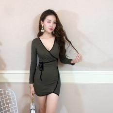 Seksi Kerah V Slim Kemas Pinggul Rok Lengan Panjang Gaun (022 Jahit Sisi Lengan Panjang Zaitun)
