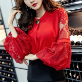 Toko Seksi Sifon Lengan Model Lampion Lengan Panjang Kemeja Renda Merah Baju Wanita Baju Atasan Kemeja Wanita Blouse Wanita Online Terpercaya