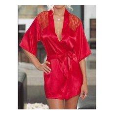 Toko Seksi Sutera Renda Kimono Berpakaian Gaun Bath Robe Lingerie Merah Intl Online Tiongkok
