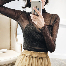 Seksi Sutra Perak Stand-Up Kerah Pandangan Kemeja Kecil Pandangan Atasan (Hitam) baju wanita baju atasan kemeja wanita