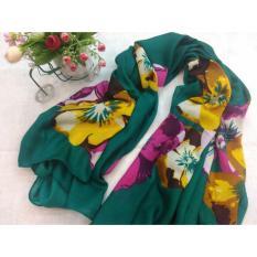 Selendang Sifon Shawl Selendang Zoya Zalora Selendang Pria Selendang Wanita Shawl Pria Pashmina Shawl Scarf Scarves Cantiki Premium Hijau Flower