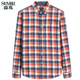 Iklan Semir Jaket Bomber Musim Gugur Baru Korean Casual Check Cotton Shirt Collar Lengan Panjang Fesyen Pria Merah