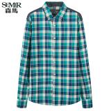 Semir Jaket Bomber Musim Gugur Baru Korean Casual Check Cotton Shirt Collar Lengan Panjang Fesyen Pria Turquoise Semir Diskon