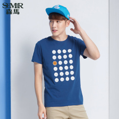 Semir Panas Musim Baru Cetak Rajutan Katun Kasual Pria Wearing T Shirt Biru Tua Murah