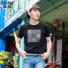 Harga Termurah Semir Musim Panas Baru Pria Korea Kasual Geometris Leher Bundar Katun Lengan Pendek T Shirt Arang