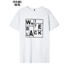 Harga Semir Panas Musim Baru Surat Kasual Pria Korea Leher Bundar Katun Lengan Pendek T Shirt Putih Tiongkok