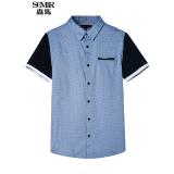 Spesifikasi Semir Musim Panas Baru Pria Korea Casual Polka Dot Cotton Persegi Leher Pendek Lengan Kemeja Pria Danau Biru Paling Bagus