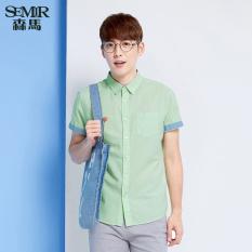 Jual Beli Semir Musim Panas Baru Pria Pendek Warna Solid Shirt Hijau Muda