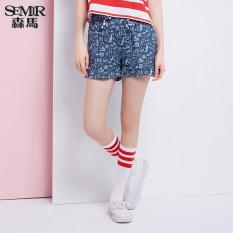 Promo Semir Musim Panas Baru Wanita Tinggi Pinggang A Type Cetak Lepas Celana Pendek Biru Muda