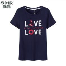 Harga Semir Musim Panas Baru Wanita Korea Kasual Surat Cotton Crew Neck Lengan Pendek T Shirt Dark Blue Baru
