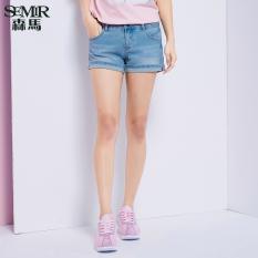 Jual Semir Musim Panas Baru Wanita Korea Kasual Polos Zip Cropped Lurus Cotton Jeans Biru Muda