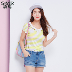 Jual Semir Musim Panas Baru Wanita Korean Casual Stripe Kru Kapas Leher Lengan Pendek Leher O Kuning Intl Branded Murah