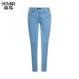 Jual Semir Musim Panas Baru Wanita Medium Rendah Pinggang Skinny Jeans Biru Muda Murah Tiongkok