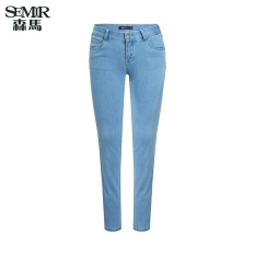 Toko Semir Musim Panas Baru Wanita Medium Rendah Pinggang Skinny Jeans Biru Muda Semir Tiongkok