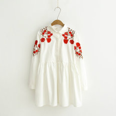 Toko Gaun Musim Semi Baru Rok Kaos Angin Nasional Bordir Putih Putih Tiongkok