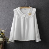 Review Kemeja Kecil Bening Longgar Kemeja Katun Putih Putih Baju Wanita Baju Atasan Kemeja Wanita Tiongkok