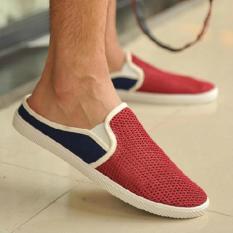 Obral Sendal Sepatu Slip On Breathable Casual Mens Sandals Red Murah