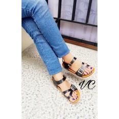Sendal Sepatu Tali Model Birkenstock Carvil New Era Tali Hitam