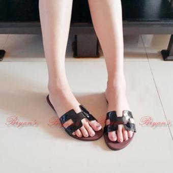 Ubutik Sandal Teplek Wanita Motif Salur Mr27 Hitam - Best Buy Indonesia - sandal flat.