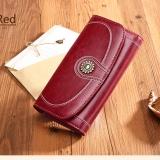 Ulasan Lengkap Tentang Sendefn 5126 Merek Mewah Split Kulit Dompet Wanita Fashion Vintage Panjang Koin Dompet Untuk Iphone7S Anggur Merah Intl